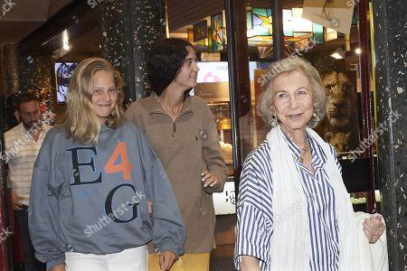 Former Queen Sofia of Spain, Victoria Federica de Marichalar, Irene Urdangarin leaving the Rivoli Cinema