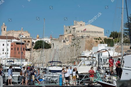 German actors Gerrit Klein (C-R), Petra Zieser (C,2-L) and Dietrich Adam (C) are seen during the filming of the German TV series 'Kreuzfahrt ins Glueck' (lit. cruise to happyness) in the port in Ciutadella, Menorca, Spain, 31 July 2019. The filming has been going on in Menorca for 15 days between Calefonts, Cala Mitjana, Sant Lluis, Cala Sant Esteve, Cavalleria and Fornells.