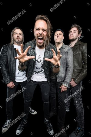 Albany United States - May 12: (L Michael Paget Matt Tuck Jason Bowld And Jamie Mathias Of Metalcore Group Bullet For My Valentine Photographed At The Upstate Concert Hall In Albany New York On May 12