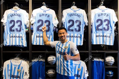 Stock Picture of Malaga CF's new signing Japanese forward Shinji Okazaki poses during his presentation in Malaga, Spain, 31 July 2019. Okazaki signed a one-year deal with the Spanish LaLiga club Malaga CF.