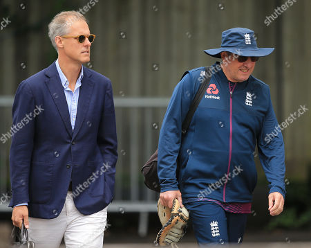 BIRMINGHAM, ENGLAND. 31 JULY National selector Ed Smith and head coach Trevor Bayliss before the Specsavers Ashes first test match at Edgbaston Cricket Ground, Birmingham