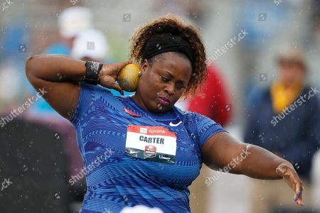 Michelle Carter sets to throw during the women's shot put at the U.S. Championships athletics meet, in Des Moines, Iowa