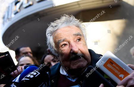"Former President of Uruguay Jose Mujica speaks to the press after attending the wake of Maria Auxiliadora Delgado, wife of Uruguayan President Tabare Vazquez, in Montevideo, Uruguay, . Uruguay's presidency confirmed that Delgado died of a heart attack during the early morning hours. Mujica told the media ""When you have Tabare's age, love is a sweet habit. And what comes to us? Loneliness"