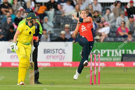 Katherine Brunt of England bowling during the 3rd Vitality International T20 match between England Women Cricket and Australia Women at the Bristol County Ground, Bristol