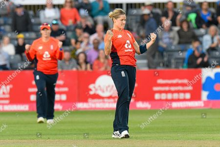 Wicket - Katherine Brunt of England celebrates taking the wicket of Beth Mooney of Australia during the 3rd Vitality International T20 match between England Women Cricket and Australia Women at the Bristol County Ground, Bristol