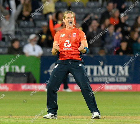Wicket - Katherine Brunt of England celebrates taking the wicket of Rachael Haynes of Australia during the 3rd Vitality International T20 match between England Women Cricket and Australia Women at the Bristol County Ground, Bristol