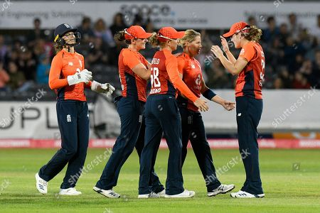 Wicket - Katherine Brunt of England celebrates taking the wicket of Georgia Wareham of Australia during the 3rd Vitality International T20 match between England Women Cricket and Australia Women at the Bristol County Ground, Bristol