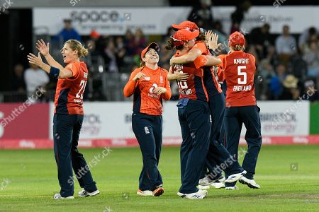 England win - Katherine Brunt of England celebrates as England beat Australia during the 3rd Vitality International T20 match between England Women Cricket and Australia Women at the Bristol County Ground, Bristol