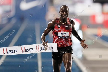 Stock Photo of Lopez Lomong wins the men's 10,000-meter run at the U.S. Championships athletics meet, in Des Moines, Iowa