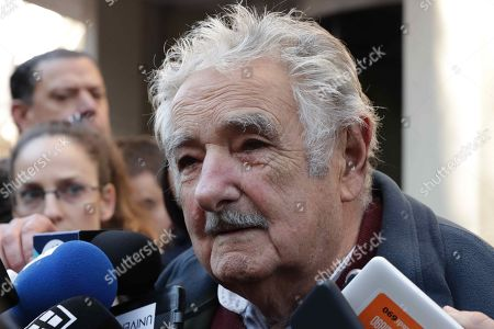 Former Uruguayan President Jose Mujica speaks to the press during the funeral of Maria Auxiliadora Delgado, wife of Uruguayan President Tabare Vazquez, at the Martinelli Funeral Parlor, in Montevideo, Uruguay, 31 July 2019. Delgado passed away early on the same day due to a heart attack and her remains will be buried at La Teja cemetery.