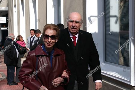 Former Uruguayan president Julio Maria Sanguinetti and his wife Marta Canessa attend the funeral of Maria Auxiliadora Delgado, wife of Uruguayan President Tabare Vazquez, at the Martinelli Funeral Parlor, in Montevideo, Uruguay, 31 July 2019. Delgado passed away early on the same day due to a heart attack and her remains will be buried at La Teja cemetery.