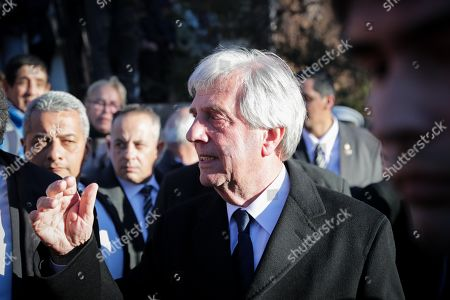 President of Uruguay, Tabare Vazquez (C), receives condolences during the burial of his wife, Maria Auxiliadora Delgado, at the cemetery of La Teja, in Montevideo, Uruguay, 31 July 2019. Delgado passed away early on the same day.