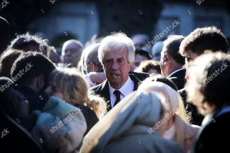 Stock Picture of President of Uruguay, Tabare Vazquez (C), attends the burial of his wife, María Auxiliadora Delgado, at the cemetery of La Teja, in Montevideo, Uruguay, 31 July 2019. Delgado passed away early on the same day.