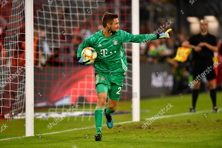 Bayern Munich's goalkeeper Sven Ulreich reacts after saving a penalty during the penalty shootout of the Audi Cup final soccer match between Tottenham Hotspur and Bayern Munich in Munich, Germany, 31 July 2019.