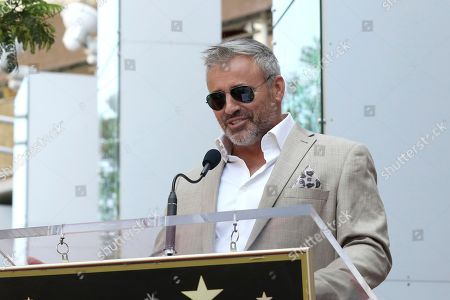 Matt LeBlanc speaks at a ceremony honoring Stacy Keach with a star at the Hollywood Walk of Fame, in Los Angeles