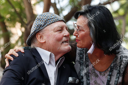 Stacy Keach (L) and his wife Malgosia Tomassi Keach kiss during the unveiling ceremony of his star on the Hollywood Walk of Fame, in Hollywood, California, USA, 31 July 2019. Keach received the 2,668th star on the Hollywood Walk of Fame, dedicated in the Category of Television.