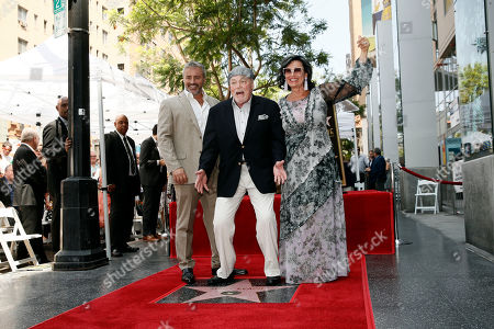 Stacy Keach (C) poses with his wife Malgosia Tomassi Keach (R) and US actor Matt LeBlanc (L) during the unveiling ceremony of his star on the Hollywood Walk of Fame, in Hollywood, California, USA, 31 July 2019. Keach received the 2,668th star on the Hollywood Walk of Fame, dedicated in the Category of Television.