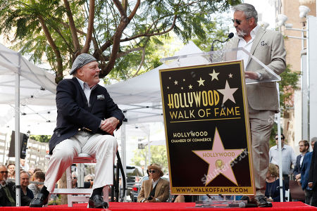 Stacy Keach (L) listens as US actor Matt LeBlanc (R) delivers a speech during the unveiling ceremony of his star on the Hollywood Walk of Fame, in Hollywood, California, USA, 31 July 2019. Keach received the 2,668th star on the Hollywood Walk of Fame, dedicated in the Category of Television.