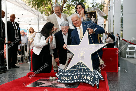 Stacy Keach (C), his wife Malgosia Tomassi Keach (back, R) and US actor Matt LeBlanc (back, L) unveil Keach's star on the Hollywood Walk of Fame, in Hollywood, California, USA, 31 July 2019. Keach received the 2,668th star on the Hollywood Walk of Fame, dedicated in the Category of Television.