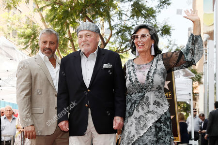 Stock Picture of Stacy Keach (C) poses with his wife Malgosia Tomassi Keach (R) and US actor Matt LeBlanc (L) during the unveiling ceremony of his star on the Hollywood Walk of Fame, in Hollywood, California, USA, 31 July 2019. Keach received the 2,668th star on the Hollywood Walk of Fame, dedicated in the Category of Television.