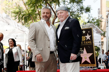 Stock Image of Stacy Keach (R) poses with US actor Matt LeBlanc during the unveiling ceremony of his star on the Hollywood Walk of Fame, in Hollywood, California, USA, 31 July 2019. Keach received the 2,668th star on the Hollywood Walk of Fame, dedicated in the Category of Television.
