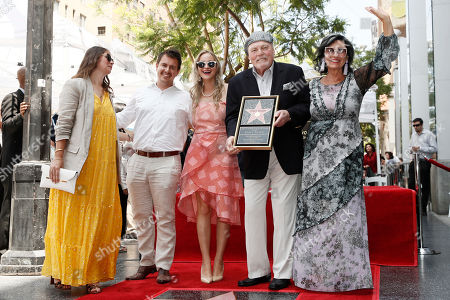 Stacy Keach (2-R), his wife Malgosia Tomassi Keach and family pose during the unveiling ceremony of Keach's star on the Hollywood Walk of Fame, in Hollywood, California, USA, 31 July 2019. Keach received the 2,668th star on the Hollywood Walk of Fame, dedicated in the Category of Television.