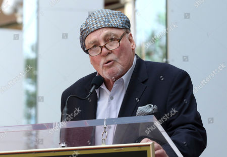 Stacy Keach speaks at a ceremony honoring him with a star at the Hollywood Walk of Fame, in Los Angeles