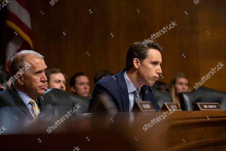 Stock Photo of United States Senator Josh Hawley speaks during the U.S. Senate Committee on the Judiciary hearing on Capitol Hill