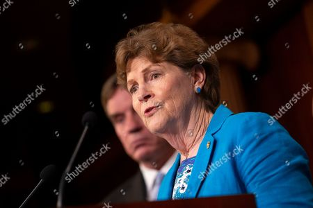 Stock Picture of United States Senator Jeanne Shaheen discusses saving pre-existing condition protections in the health care system during a press conference on Capitol Hill