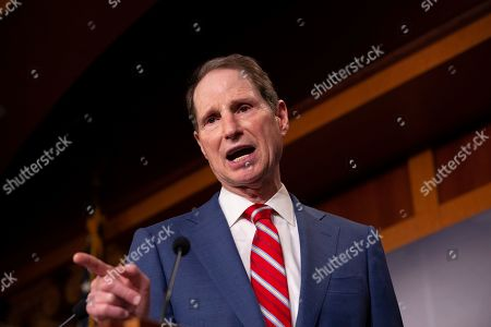 Stock Picture of United States Senator Ron Wyden discusses saving pre-existing condition protections in the health care system during a press conference on Capitol Hill