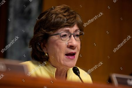United States Senator Susan Collins speaks during the U.S. Senate Committee on Appropriations regarding FAA oversight on Capitol Hill