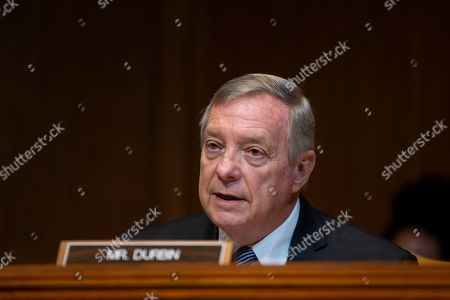 United States Senator Dick Durbin speaks during the U.S. Senate Committee on Appropriations regarding FAA oversight on Capitol Hill