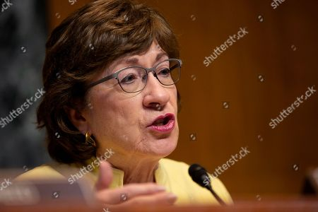 Stock Photo of United States Senator Susan Collins speaks during the U.S. Senate Committee on Appropriations regarding FAA oversight on Capitol Hill