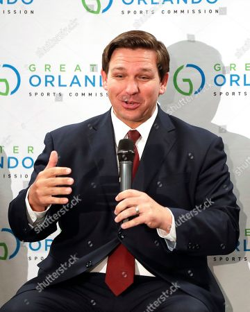 Florida Gov. Ron DeSantis speaks during a news conference prior to the MLS All-Star soccer match, in Orlando, Fla