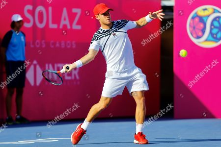 Stock Picture of Argentinian tennis player Diego Schwartzman in action against Ernests Gulbis of Latvia during the third day of the Los Cabos Tennis Open in Los Cabos, Baja California, Mexico, 31 July 2019.