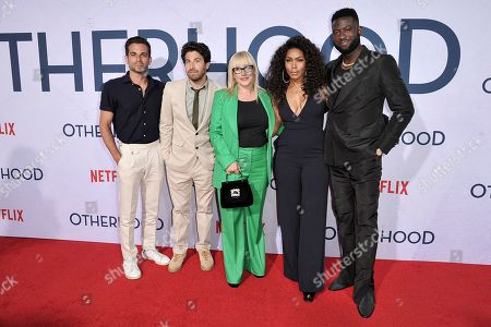 """Stock Image of Frank De Julio, Jake Hoffman, Patricia Arquette, Angela Bassett, Sinqua Walls. Frank De Julio, from left, Jake Hoffman, Patricia Arquette, Angela Bassett and Sinqua Walls attends a special screening of """"Otherhood"""" at the Egyptian Theatre Hollywood, in Los Angeles"""