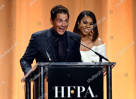 Rob Lowe, Regina Hall. Actor Rob Lowe, left, and actress Regina Hall share a laugh onstage at the 2019 Hollywood Foreign Press Association's Annual Grants Banquet at the Beverly Wilshire Hotel, in Beverly Hills, Calif