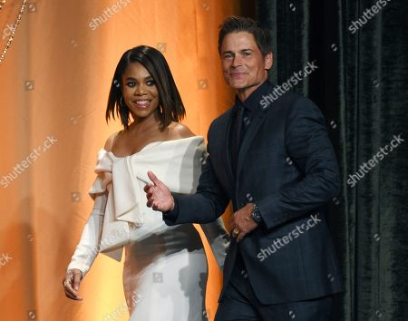 Regina Hall, Rob Lowe. Actress Regina Hall, left, and actor Rob Lowe arrive together onstage at the 2019 Hollywood Foreign Press Association's Annual Grants Banquet at the Beverly Wilshire Hotel, in Beverly Hills, Calif