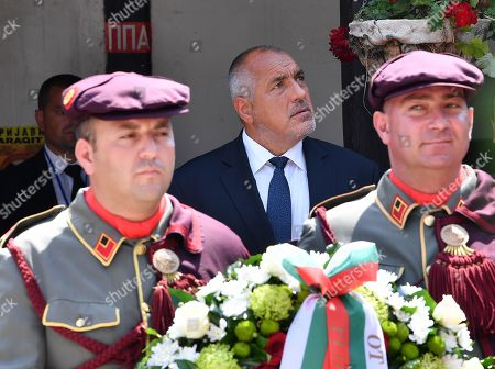 Bulgarian Prime Minister Boyko Borissov (C) attends a wreath laying ceremony at the grave of Macedonian revolutionary Goce Delcev in the garden of Orthodox church St. Spas in Skopje, Republic of North Macedonia, 01 August 2019. Bulgarian Prime Minister Boyko Borissov is in North Macedonia for a one-day official visit.