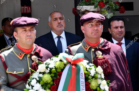 Bulgarian Prime Minister Boyko Borissov (2-L) and his North Macedonian counterpart Zoran Zaev (R) attend a wreath laying ceremony at the grave of Macedonian revolutionary Goce Delcev in the garden of Orthodox church St. Spas in Skopje, Republic of North Macedonia, 01 August 2019. Bulgarian Prime Minister Boyko Borissov is in North Macedonia for a one-day official visit.