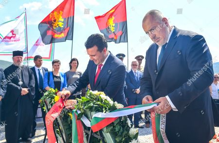 Bulgarian Prime Minister Boyko Borissov (R) and Macedonian Prime Minister Zoran Zaev (L) look at the newly built monument of Bulgarian Colonel Konstantin Kavarnaliev who died in betel of Dojran during the second Balkan war in 1913, near Dojran, Republic of North Macedonia, 01 August 2019. Bulgarian Prime Minister Boyko Borissov is in North Macedonia for a one-day official visit
