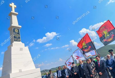 Bulgarian Prime Minister Boyko Borissov (C) and his North Macedonia's counterpart Zoran Zaev (R) attend a ceremony to unveil the newly built monument (L) of Bulgarian Colonel Konstantin Kavarnaliev who died in betel of Dojran during the second Balkan war in 1913, near Dojran, Republic of North Macedonia, 01 August 2019. Bulgarian Prime Minister Boyko Borissov is in North Macedonia for a one-day official visit.
