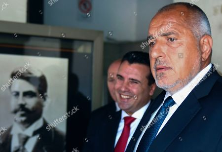 Bulgarian Prime Minister Boyko Borissov (R) and his North Macedoni's counterpart Zoran Zaev (C) attend a wreath laying ceremony at the grave of Macedonian revolutionary Goce Delcev (L) in the garden of Orthodox church St. Spas in Skopje, Republic of North Macedonia, 01 August 2019. Bulgarian Prime Minister Boyko Borissov is in North Macedonia for a one-day official visit