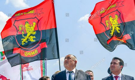 Bulgarian Prime Minister Boyko Borissov (L) and Macedonian Prime Minister Zoran Zaev (R) look at the newly built monument of Bulgarian Colonel Konstantin Kavarnaliev who died in betel of Dojran during the second Balkan war in 1913, near Dojran, Republic of North Macedonia, 01 August 2019. Bulgarian Prime Minister Boyko Borissov is in North Macedonia for a one-day official visit