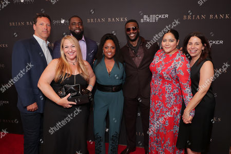 Stock Photo of Andrew Karpen - CEO, Bleecker Street, Producer Monica Levinson, Brian Banks, Sherri Shepherd, Aldis Hodge, Producer Shivani Rawat and Producer Amy Baer