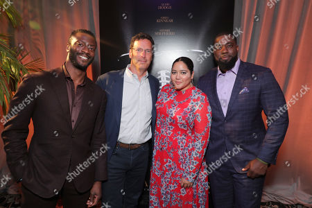 Stock Picture of Aldis Hodge, Andrew Karpen - CEO, Bleecker Street, Producer Shivani Rawat and Brian Banks