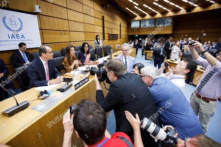 A general view of photographers taking pictures of Cornel Feruta, the Acting Director General of the International Atomic Energy Agency (IAEA) ahead of the start of the IAEA Board of Governors meeting at the IAEA headquarters of the United Nations (UN) seat in Vienna, Austria, 01 August 2019. The board of governors is expected to discuss the successor of IAEA director Yukiya Amano, who died at the age of 72 on 18 July 2019.