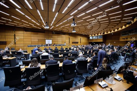 A general view prior to the start of the International Atomic Energy Agency (IAEA) Board of Governors meeting at the IAEA headquarters of the United Nations (UN) seat in Vienna, Austria, 01 August 2019. The board of governors is expected to discuss the successor of IAEA director Yukiya Amano, who died at the age of 72 on 18 July 2019.