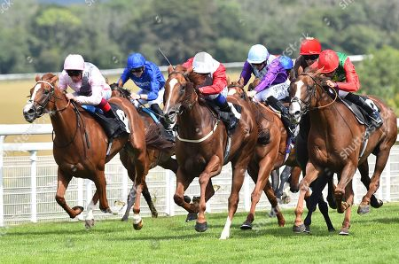(R) Billesdon Brook (Sean Levey) wins The Theo Fennell Oak Tree Stakes from (C) Perfection (Silvestre De Sousa) and (L) Royal Intervention (Frankie Dettori).