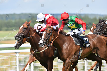 (R) Billesdon Brook (Sean Levey) wins The Theo Fennell Oak Tree Stakes from (L) Perfection (Silvestre De Sousa).